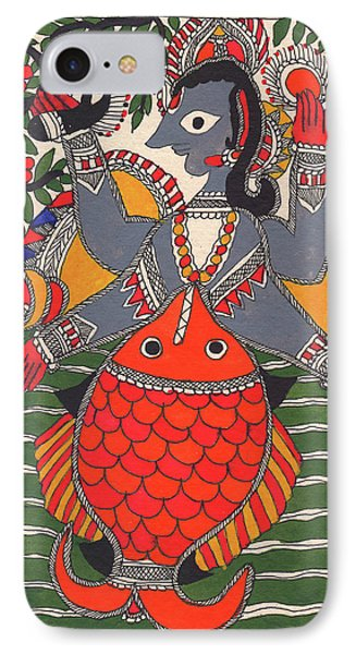 Vishnu Matsya Madhubani Painting God Avatar Fish Incarnation Watercolor Miniature Painting IPhone Case by A K Mundra