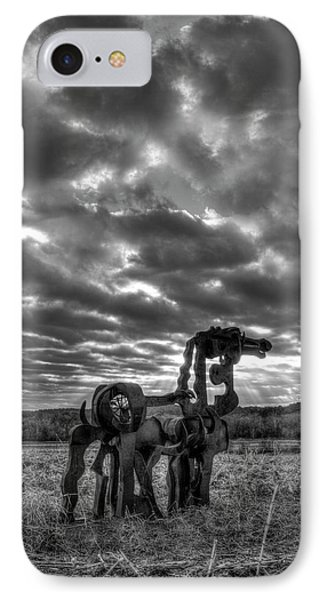 Visible Lights 2 Bw The Iron Horse Sunrise Art IPhone Case by Reid Callaway