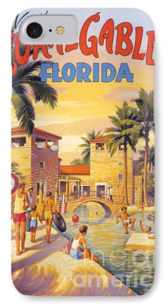 Visit Coral Gables-florida IPhone Case by Nostalgic Prints