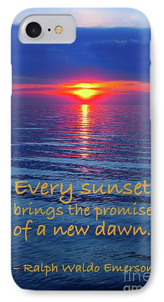 Vivid Sunset With Emerson Quote IPhone Case by Ginny Gaura