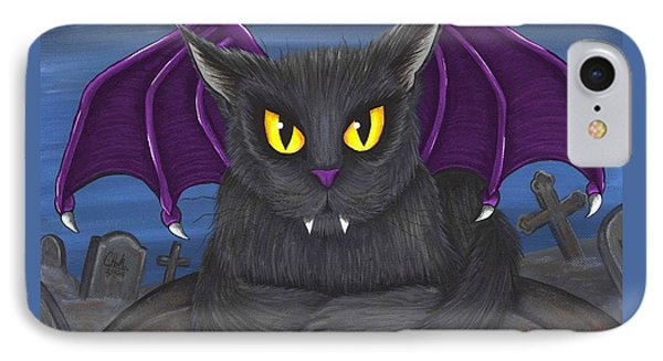 Vlad Vampire Cat IPhone Case by Carrie Hawks