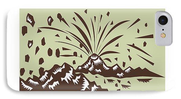 Volcano Eruption Island Woodcut IPhone Case