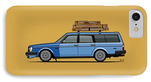 Volvo 245 Brick Wagon 200 Series Blue Shopping Wagon IPhone Case