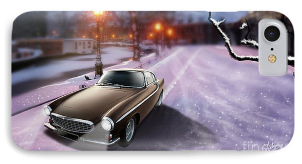 Volvo P1800 Snow Scene Phone Case by Linton Hart
