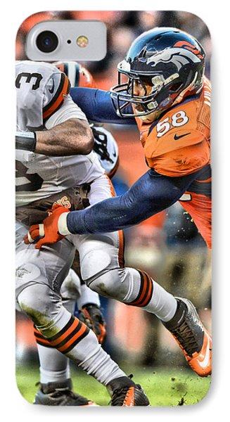 Von Miller Broncos Art 2 IPhone Case by Joe Hamilton
