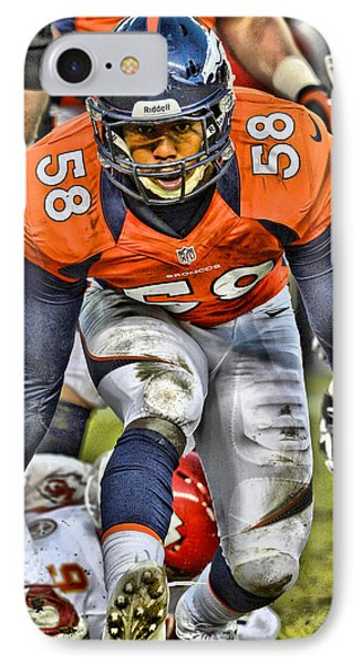 Von Miller Broncos Art 4 IPhone Case by Joe Hamilton
