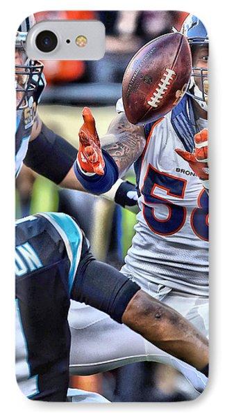 Von Miller Broncos Art IPhone Case by Joe Hamilton