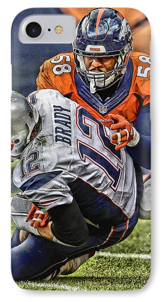 Von Miller Denver Broncos Art IPhone Case by Joe Hamilton
