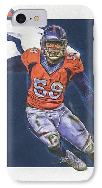 Von Miller Denver Broncos Oil Art IPhone Case by Joe Hamilton