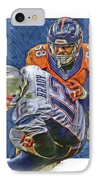 Von Miller Denver Broncos Oil Art4 IPhone Case by Joe Hamilton