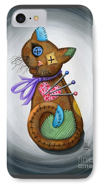 IPhone Case featuring the painting Voodoo Cat Doll - Patchwork Cat by Carrie Hawks