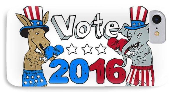 Vote 2016 Donkey Boxer And Elephant Mascot Cartoon IPhone Case
