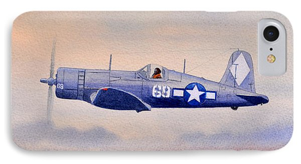 IPhone Case featuring the painting Vought F4u-1d Corsair Aircraft by Bill Holkham