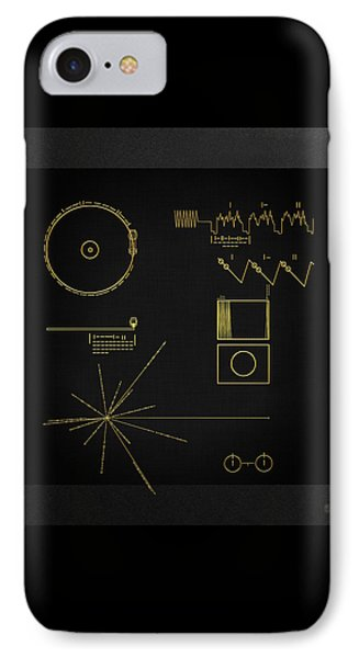 Voyager Golden Record Cover On Black Canvas IPhone Case by Serge Averbukh