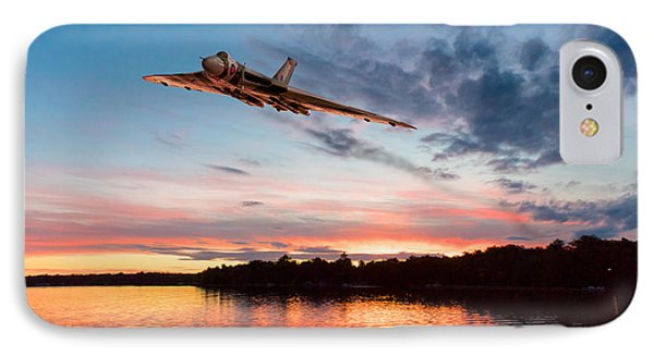 IPhone 7 Case featuring the digital art Vulcan Low Over A Sunset Lake by Gary Eason