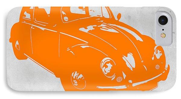 Vw Beetle Orange Phone Case by Naxart Studio