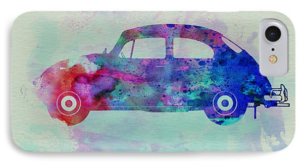 Vw Beetle Watercolor 1 IPhone Case by Naxart Studio