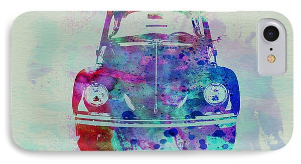 Vw Beetle Watercolor 2 IPhone Case by Naxart Studio