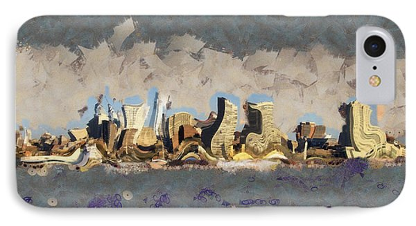 IPhone Case featuring the mixed media Wacky Philly Skyline by Trish Tritz
