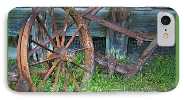 IPhone Case featuring the photograph Wagon Wheel And Fence by David and Carol Kelly