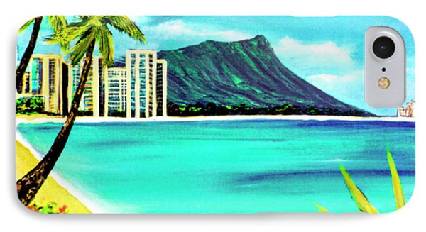 Waikiki Beach And Diamond Head #150 Phone Case by Donald k Hall