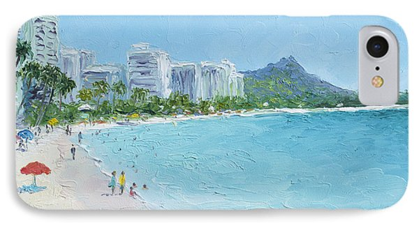Waikiki Beach Honolulu Hawaii IPhone Case by Jan Matson