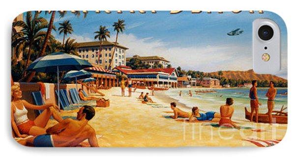 Waikiki Beach IPhone Case by Nostalgic Prints