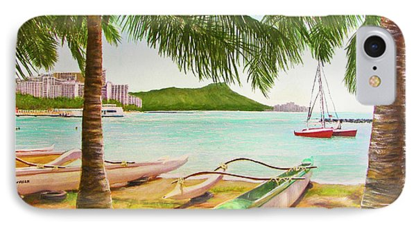 Waikiki Beach Outrigger Canoes 344 Phone Case by Donald k Hall