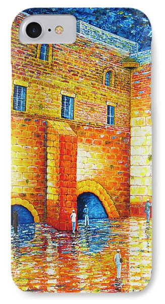 IPhone Case featuring the painting Wailing Wall Original Palette Knife Painting by Georgeta Blanaru