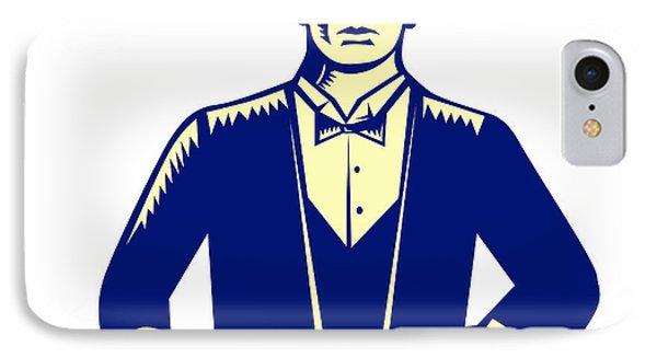 Waiter Cravat Serving Plate Woodcut IPhone Case