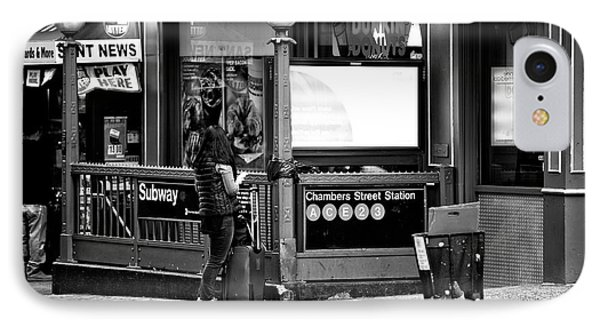 IPhone Case featuring the photograph Waiting At The Chambers Street Station by John Rizzuto