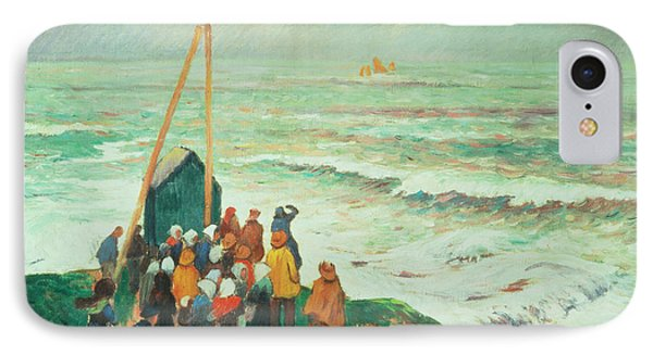 Waiting For The Return Of The Fishermen In Brittany Phone Case by Henry Moret