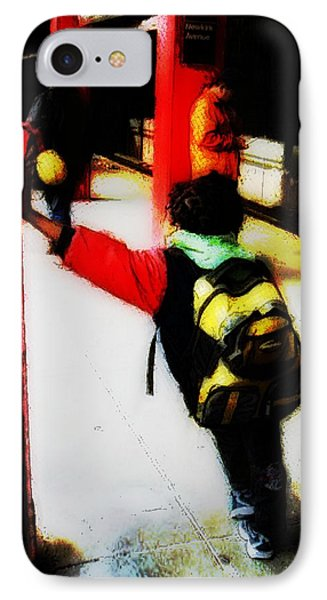 Waiting On The Q Train In Flatbush IPhone Case by Iowan Stone-Flowers