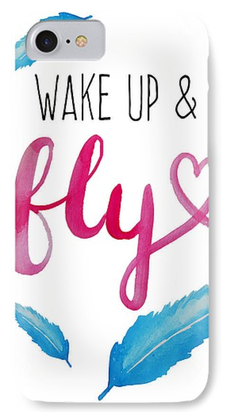 Wake Up And Fly Watercolor IPhone Case by Michelle Eshleman