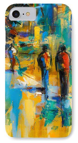 IPhone Case featuring the painting Walk In The City by Elise Palmigiani