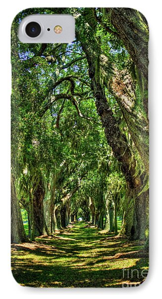 IPhone Case featuring the photograph Walk With Me Avenue Of Oaks St Simons Island Art by Reid Callaway