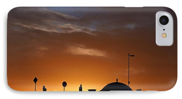 Walking At Sunset IPhone Case by Les Bell