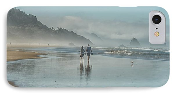 Walking Cannon Beach IPhone Case by CR  Courson
