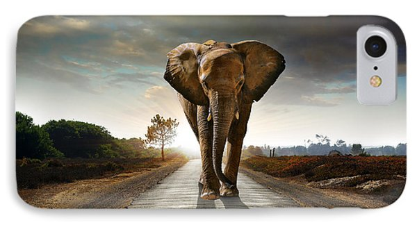 Walking Elephant IPhone Case by Carlos Caetano