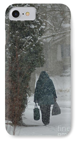 Walking Home In The Snow IPhone Case