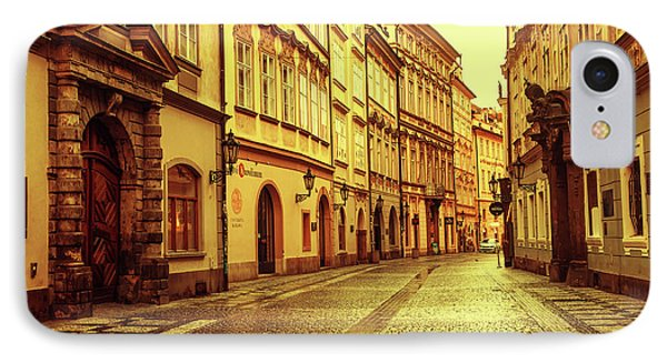 IPhone Case featuring the photograph Walking In Prague. Series Golden Prague by Jenny Rainbow