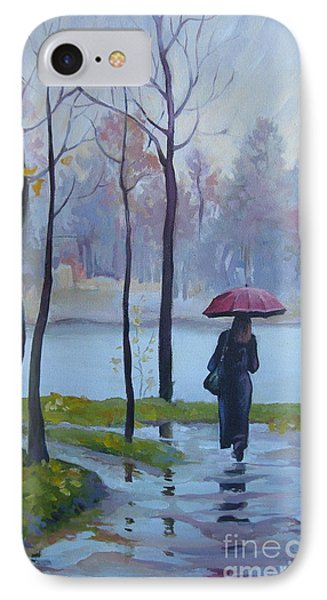 IPhone Case featuring the painting Walking In The Rain by Elena Oleniuc