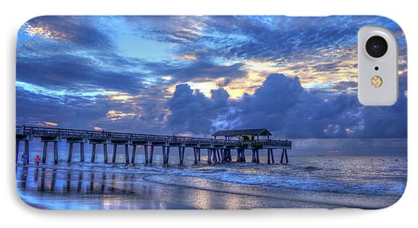 Walking In The Reflections Tybee Island Pier Sunrise Art IPhone Case by Reid Callaway