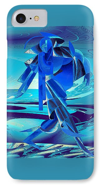 IPhone Case featuring the digital art Walking On A Stormy Beach by Robert G Kernodle