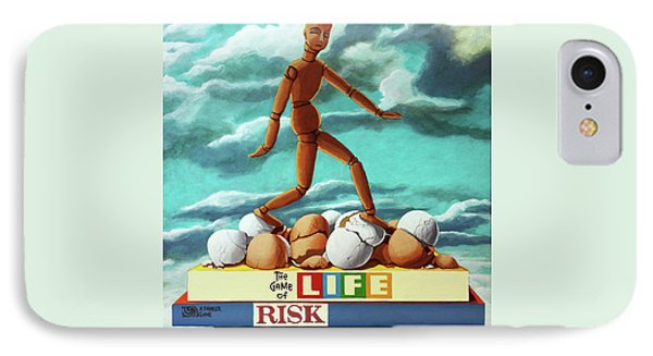 IPhone Case featuring the painting Walking On Eggshells Imaginative Realistic Painting by Linda Apple