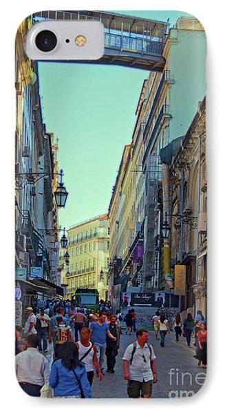 IPhone Case featuring the photograph Walkway Over The Street - Lisbon by Mary Machare