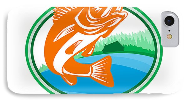Walleye Fish Lake Cabin Oval Retro IPhone Case by Aloysius Patrimonio