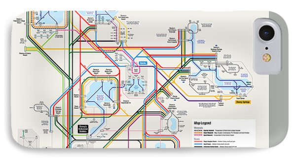 Walt Disney World Resort Transportation Map IPhone Case by Arthur De Wolf