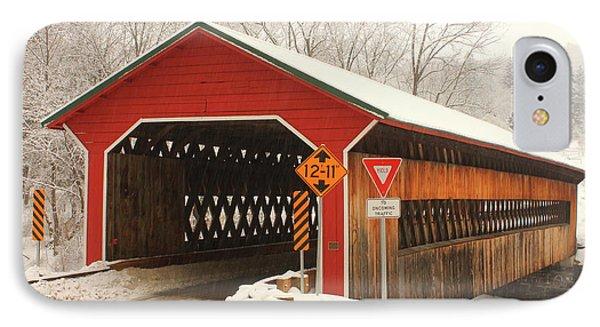 Ware Gilbertville Covered Bridge Winter IPhone Case by John Burk