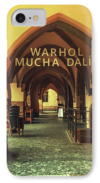 IPhone Case featuring the photograph Warhol Mucha Dali. Series Golden Prague by Jenny Rainbow
